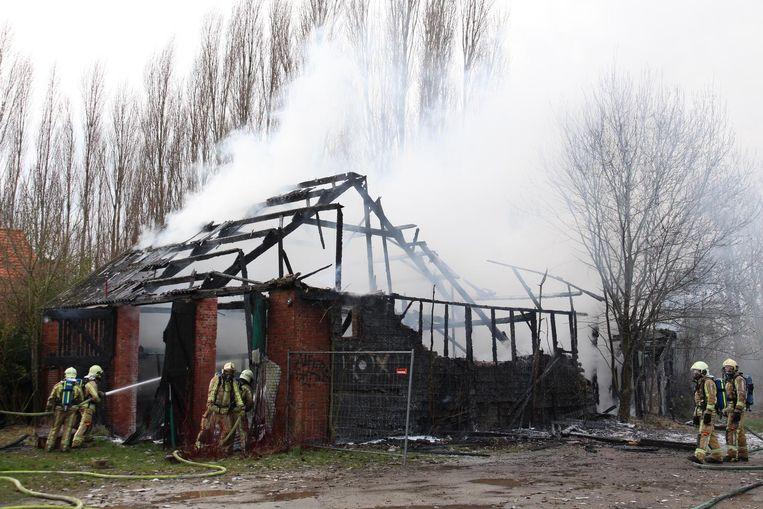 De brandweer had heel wat bluswerk, maar kon niet verhinderen dat de schuur in vlammen opging.