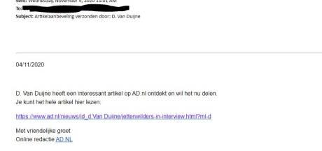Phishingmail in omloop onder valse naam redactie AD.nl