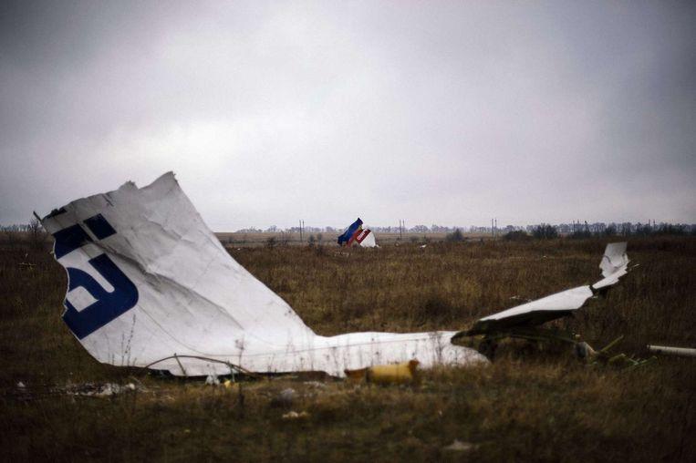 Resten van het vliegtuig op de rampplek Beeld afp