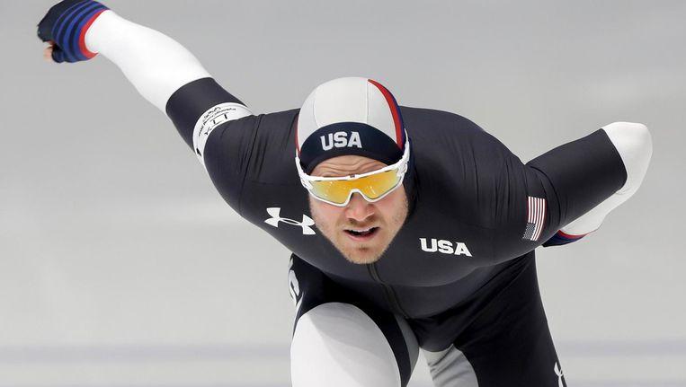 Joey Mantia, een van de Amerikaanse kanshebbers op een medaille, tijdens een training in de Gangneung Oval. Beeld null