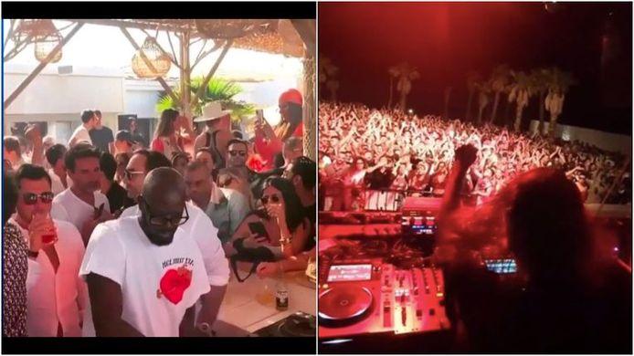 À gauche: la fête à Saint-Tropez. À droite : la DJ belge Charlotte De Witte jouant un set devant une foule compacte en Sicile.