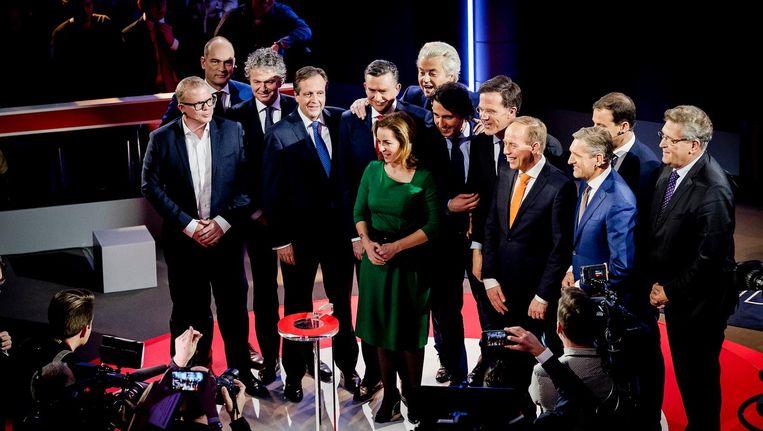 Lijstrekkers voor aanvang van het verkiezingsdebat Beeld anp