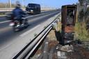 Een in brand gestoken snelheidscamera bij het Zuid-Franse Sète