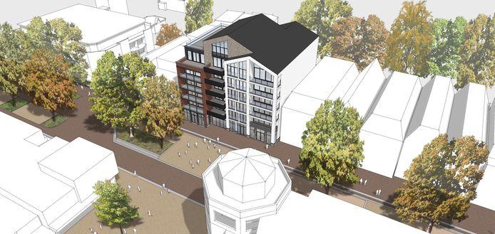 Een artist impression van het nieuwe hoge woon-/winkelcomplex in hartje Nijverdal. De vraag is nu waar de bewoners straks hun auto moeten parkeren.