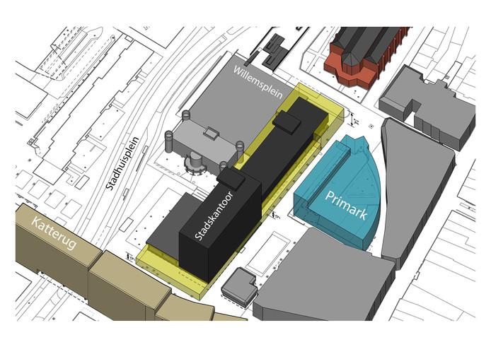 De gele stukken staan voor de groeiruimte van het stadskantoor.