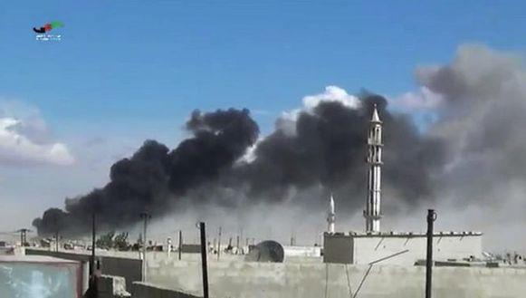 De Russische luchtaanvallen op de Syrische provincie Homs.