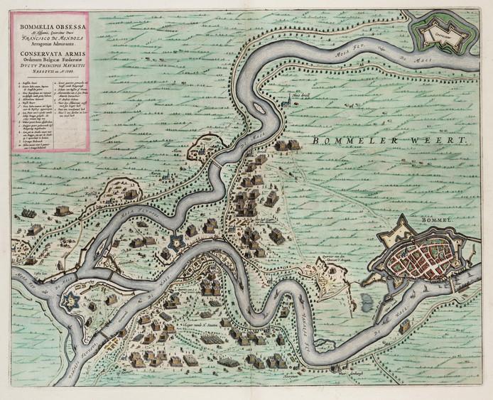 De kaart van het Beleg van Zaltbommel (1599) uit de Atlas van Loon. Het zuiden is boven op de kaart. Linksonder bij Heerewaarden (Herwaerden) twee verbindingen tussen de Waal en de Maas. De linker is het Voornse Gat. Ook Fort Voren (Voorne) is zichtbaar. De stervorm een stuk verder naar rechtsboven is Fort Sint Andries.