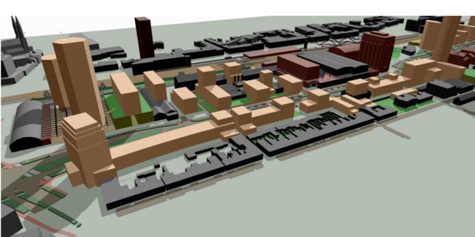Stedenbouwkundige opzet Spoorzone met voor de locatie van het blauwe gebouw: de toren links mag 49 meter hoog worden, de rechtse 18 meter