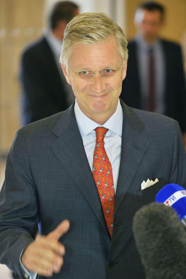 Toekomstig koning Filip bij een conferentie in Antwerpen, vandaag. Beeld afp