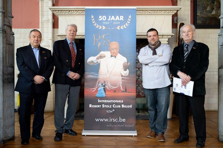 MECHELEN Internationale Robert Stolz Club België viert haar 50ste verjaardag: vlnr Jacques Colson, Jean-Pierre Maes, Bjorn Siffer en René Van Eyken