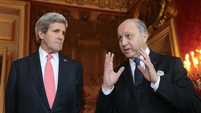 John Kerry, secrétaire d'Etat américain, Laurent Fabius, ministre français des Affaires étrangères
