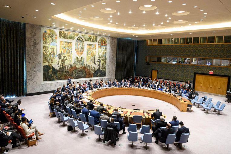 Spoedzitting van de Veiligheidsraad op initiatief van Rusland over de bombardementen op Syrië, 14 april. Beeld Photo News