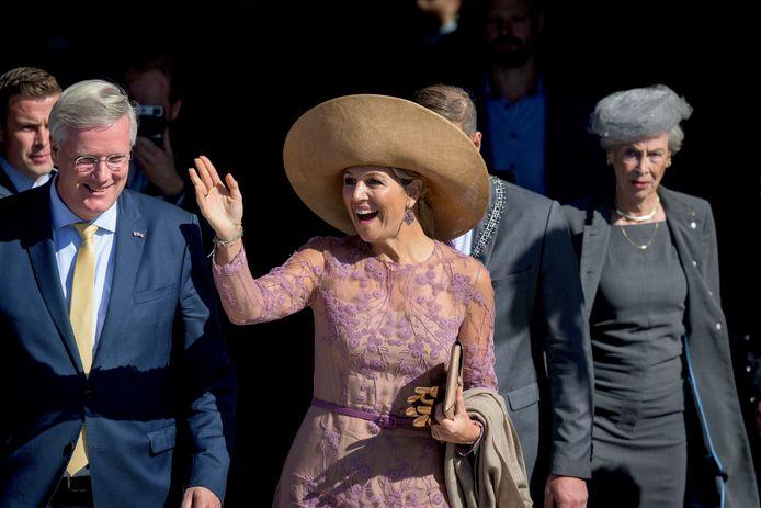 Koningin Máxima tijdens een eerder bezoek aan Twente bij de Grolsch Veste.