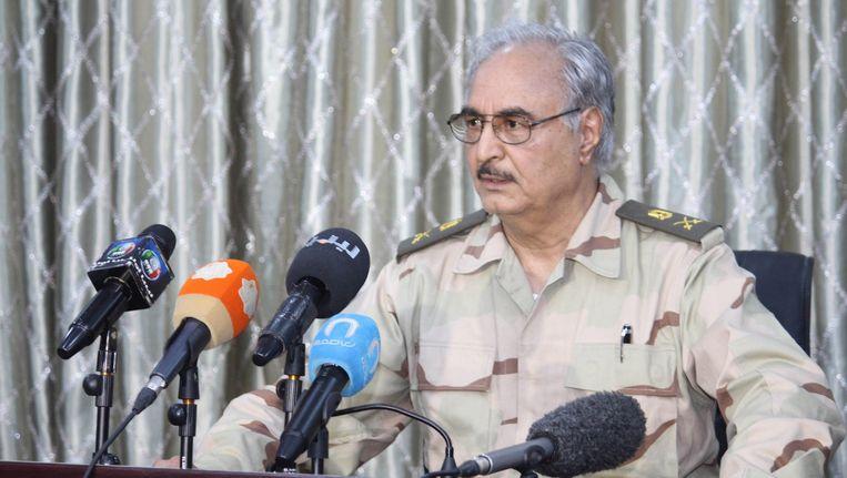 Khalifa Haftar, de Libische ex-generaal. Beeld epa