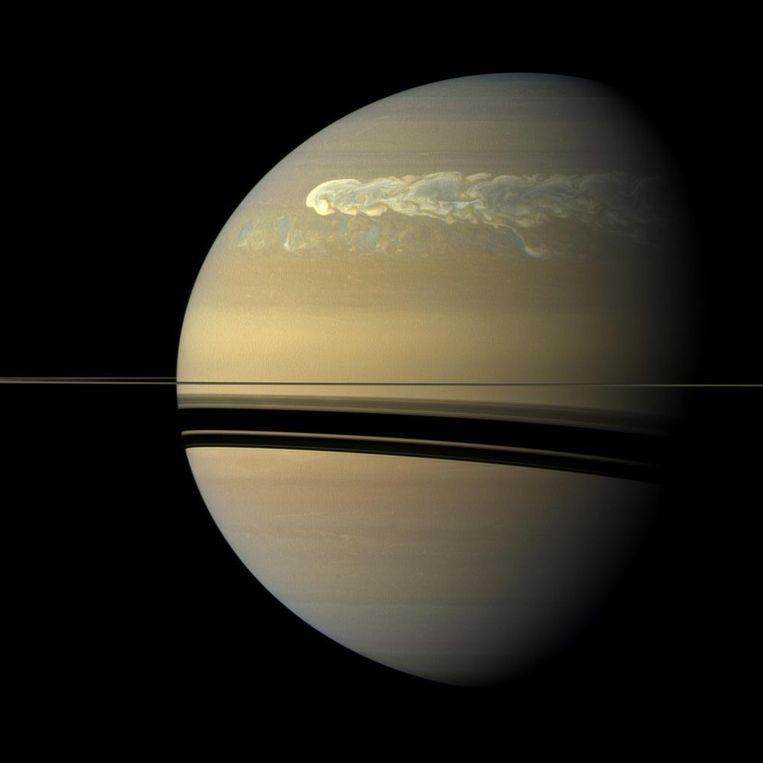 Storm op het noordelijke halfrond van Saturnus. Beeld Theo Audena