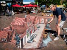 Utrechtse streetartist maakt mega 3D vloerschildering in Leidsche Rijn