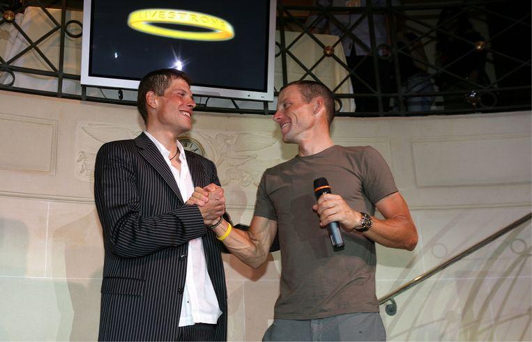 Lance heeft Jan Ullrich (links) echt willen helpen. Nadat hij Jan na zijn opname was gaan bezoeken, was hij volledig van de kaart. 'Johan, hij gaat het niet overleven.' Beeld