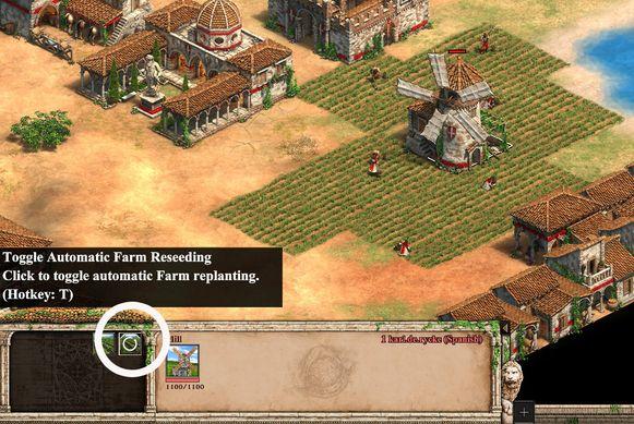 Zalig: als je op de omcirkelde knop bij 'the mill' klikt, blijven je villagers de farms bezaaien.