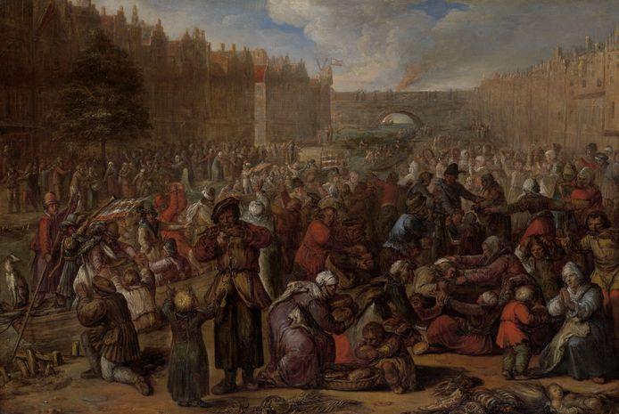 Het schilderij 'De hongerende bevolking na de opheffing van het beleg van Leiden' van schilder Otto van Veen (1556 - 1629).