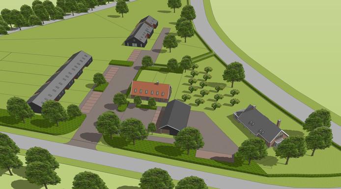 Een artist impression van VAB Architecten & Adviseurs van 'Buitenplaats Ypelo', een bouwplan voor dertien woningen op het terrein van een voormalige varkenshouderij in deze Wierdense buurtschap.