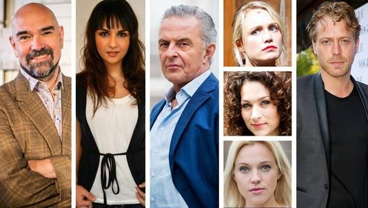 Is dit de cast van Flikken Rotterdam? vlnr: Cees Geel, Maryam Hassouni, Huub Stapel, Sophie van Winden boven), Eva van de Wijdeven (midden) of Loes Haverkort (onder) en Mark van Eeuwen.