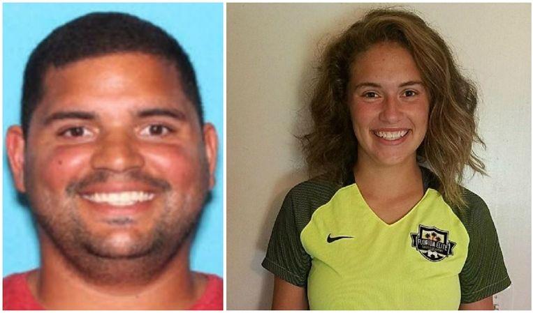 Voetbaltrainer Rian Rodriguez (27) was een kleine week op de vlucht met  Caitlyn Frisina (17).