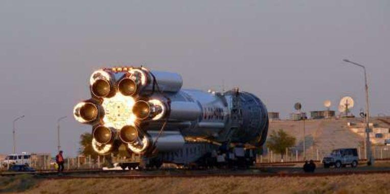 De Proton voor de lancering op de basis in Kazachstan.