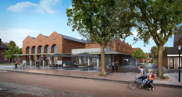 Het Centrumplan Leende gezien vanaf het terras van herberg De Scheuter op de Markt