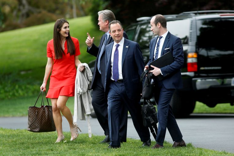Hope Hicks in april vorig jaar aan het Witte Huis.