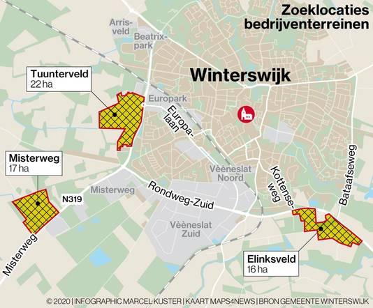 Mogelijke locaties voor industrieterreinen in Winterswijk: Tuunterveld, Elinksveld en Misterweg.