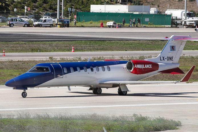 Het ambulance-vliegtuig waar Cristiano Ronaldo woensdag mee van Lissabon naar Turijn vloog.