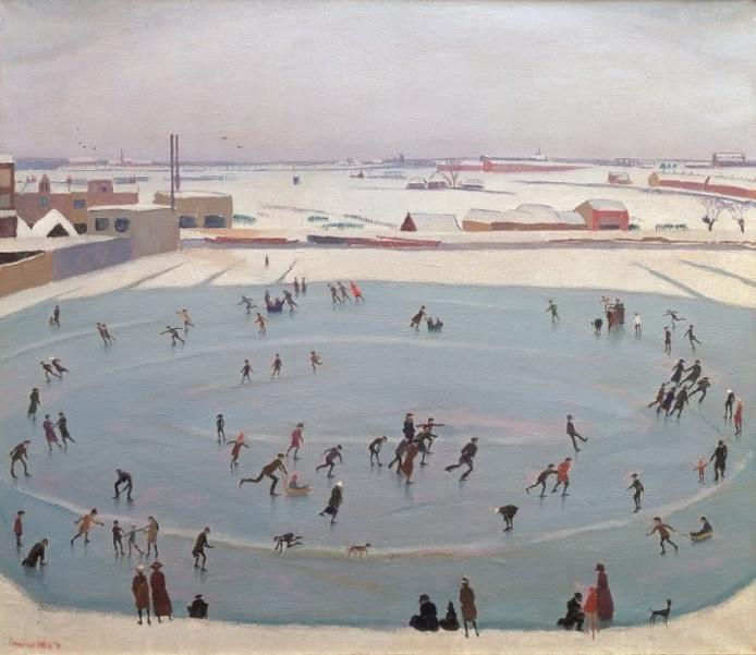 Schilder Johan van Hell wint in Parijs in 1924 met deze schildering 'Schaatsenrijders' een Olympische medaille.