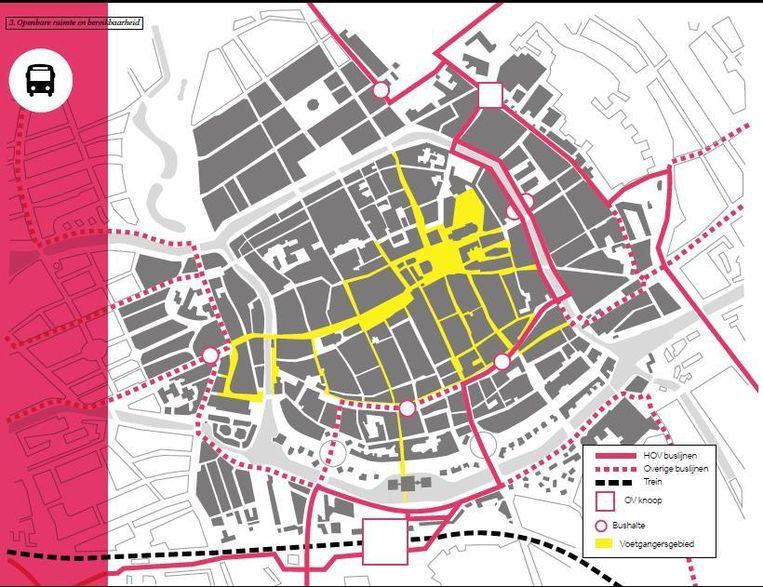 Busplan uit de nieuwe Binnenstadsvisie. Beeld