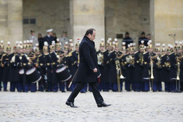 President Hollande bij de herdenking Beeld AFP