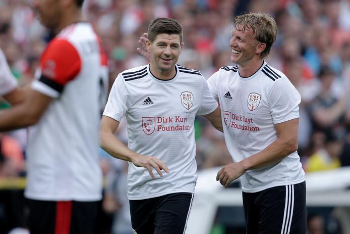 Steven Gerrard was bij de afscheidswedstrijd van Dirk Kuyt in 2017.