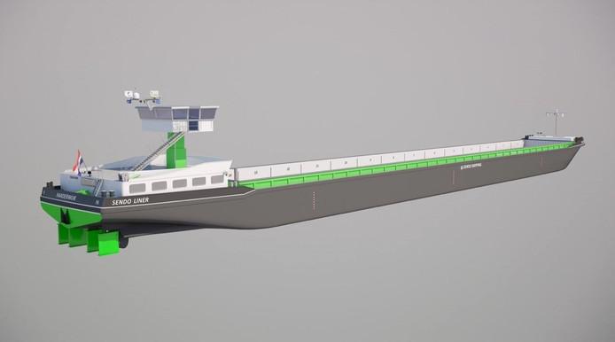 Een impressie van het elektrische schip Sendo Liner