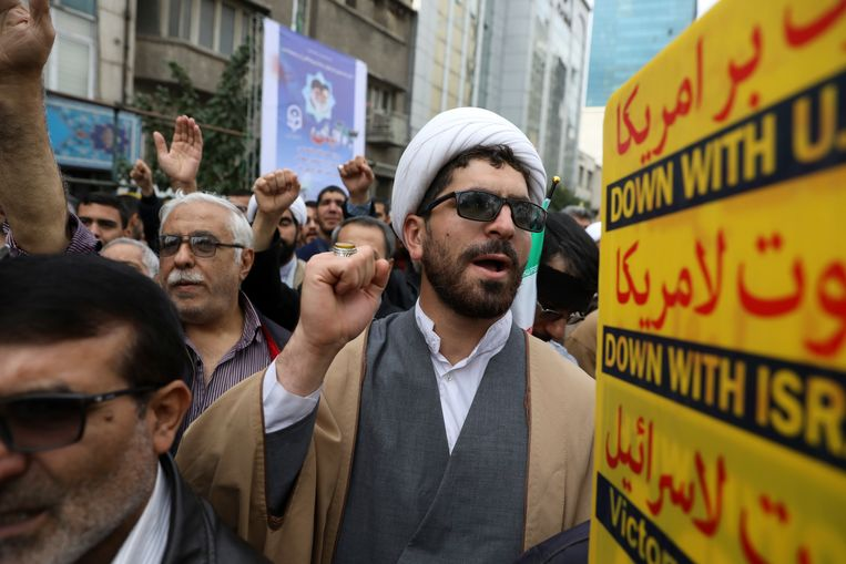 'Dood aan Amerika', klonk het in de straten van Teheran op de 40ste verjaardag van de gijzeling. Beeld AP