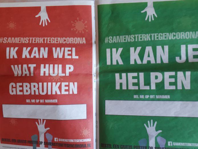 Rode en groene poster voor wie hulp nodig heeft of wil geven tijdens coronacrisis.