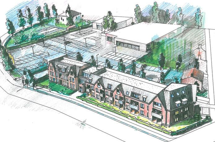 Schets van nieuwbouw appartementencomplex aan de Lagekerk in Deurne