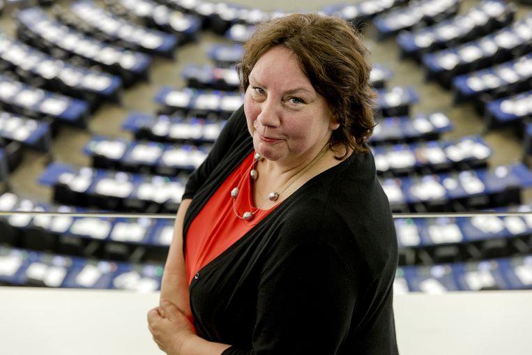 Agnes Jongerius van de PvdA in de plenaire zaal van het Europees Parlement. Beeld anp