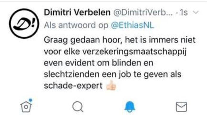Deze tweet van Dimitri Verbelen bracht de verzekeringsmaatschappij in verlegenheid.