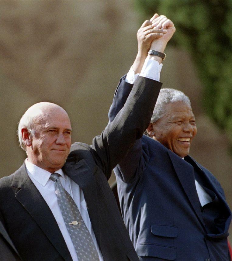 Nelson Mandela met voormalig president van Zuid-Afrika Frederik Willem de Klerk in 1994.