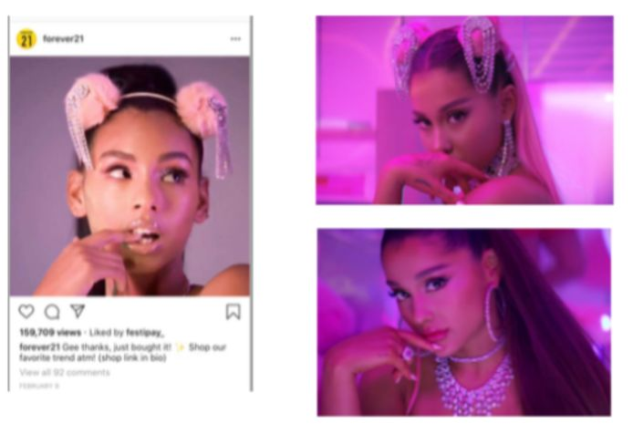Links de lookalike van Ariana Grande, rechts beelden uit de clip.