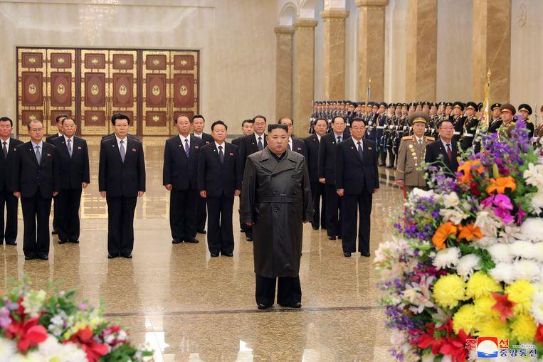 Een van staatswege verspreide foto van Kim Jong-un. Beeld EPA