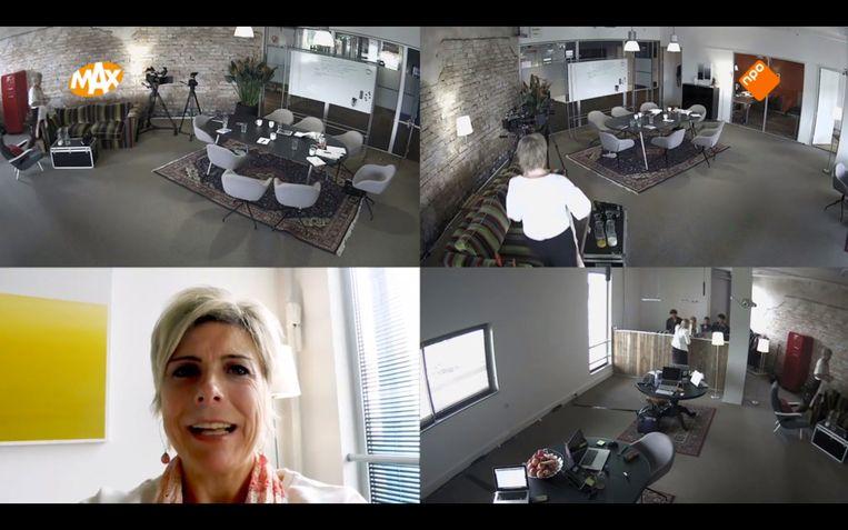 Met een handcamera laat prinses Laurentien de burelen zien van het omroep Max-programma 'Eindredactie'. Beeld screenshot tv