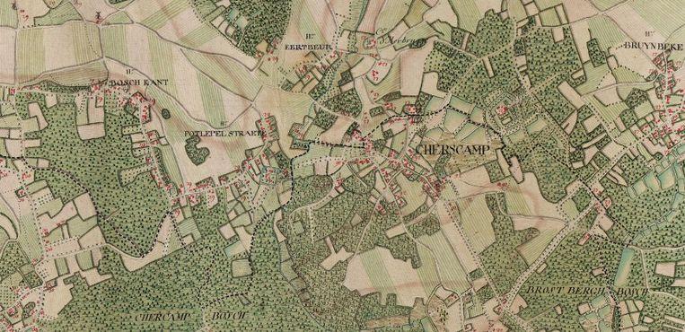 Op een oude kaart zijn de bosgordels zichtbaar.