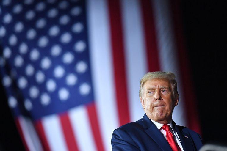 Donald Trump tijdens de verkiezingsbijeenkomst in Freeland, Michigan. Beeld Hollandse Hoogte / AFP