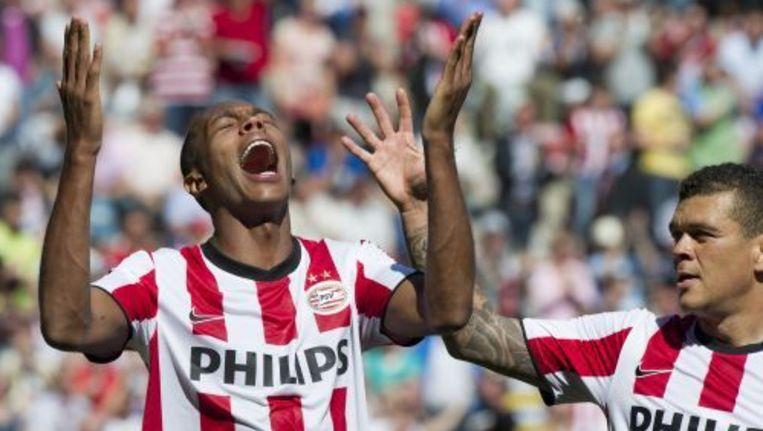 Marcello (L) en Wilfred Bouma van PSV vieren de treffer van Marcello (2-0). ANP Beeld