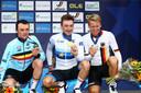 Yves Lampaert, Elia Viviani en Pascal Ackermann tonen hun medaille.
