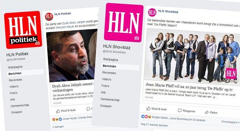 De nieuwe Facebookpagina's van HLN: eentje over Politiek en eentje over Showbizz.